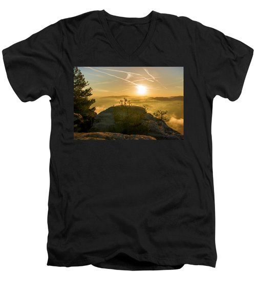 Golden Morning On The Lilienstein Men's V-Neck T-Shirt