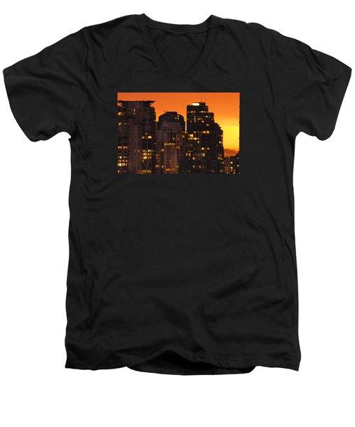 Men's V-Neck T-Shirt featuring the photograph Golden Orange Cityscape Dccc by Amyn Nasser