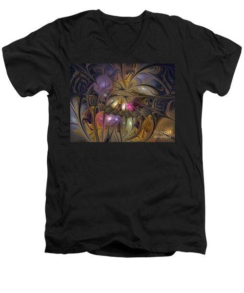 Golden Ornamentations-fractal Design Men's V-Neck T-Shirt by Karin Kuhlmann