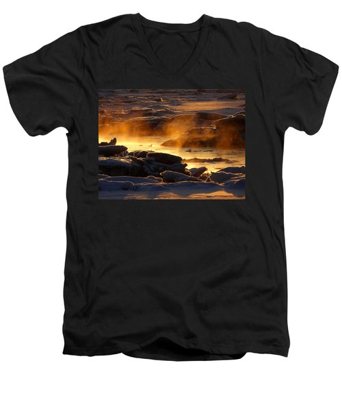 Golden Sea Smoke At Sunrise Men's V-Neck T-Shirt by Dianne Cowen