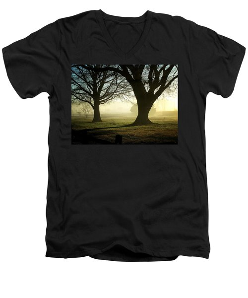 Men's V-Neck T-Shirt featuring the photograph Golden Sunrise by Greg Simmons