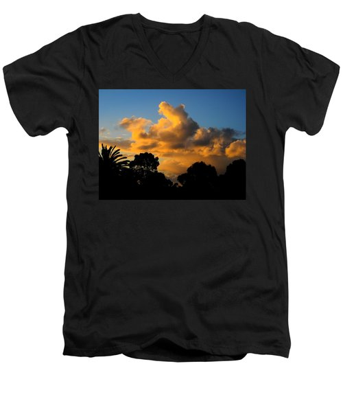 Golden Sunset Men's V-Neck T-Shirt by Mark Blauhoefer