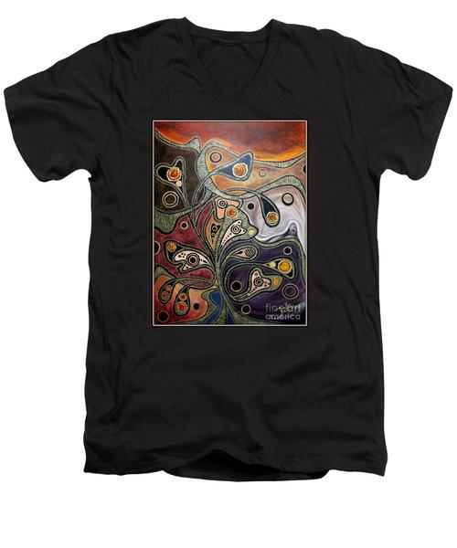 Golden Thought Men's V-Neck T-Shirt by Jolanta Anna Karolska