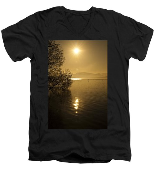 Golden Ullswater Evening Men's V-Neck T-Shirt by Meirion Matthias