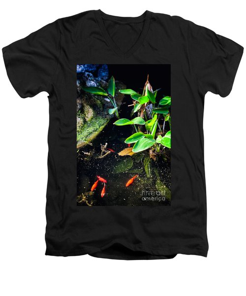 Men's V-Neck T-Shirt featuring the photograph Goldfish In Pond by Silvia Ganora