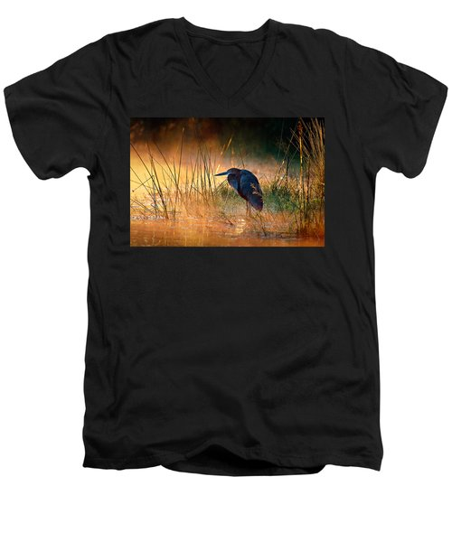 Goliath Heron With Sunrise Over Misty River Men's V-Neck T-Shirt by Johan Swanepoel