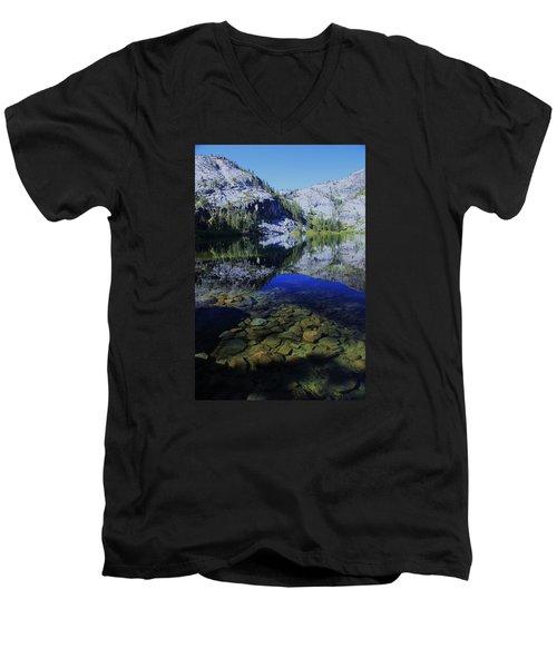 Good Morning Eagle Lake Men's V-Neck T-Shirt by Sean Sarsfield