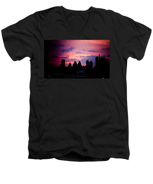 Men's V-Neck T-Shirt featuring the photograph Good Morning New York by Sara Frank