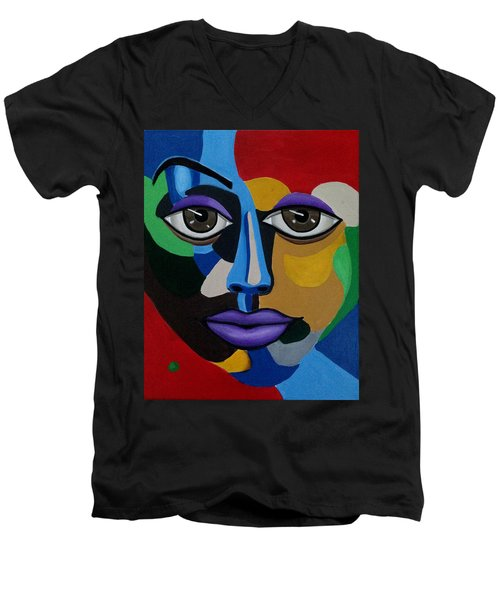 Colorful Abstract Face Art Painting, 3d Illusion, Big Brown Eyes, Purple Lips Men's V-Neck T-Shirt