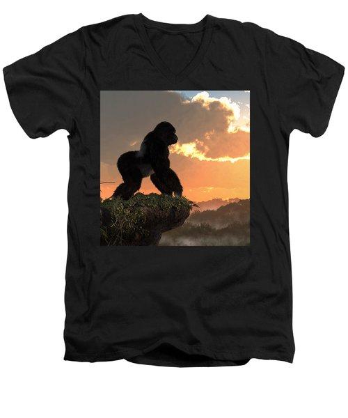 Gorilla Sunset Men's V-Neck T-Shirt