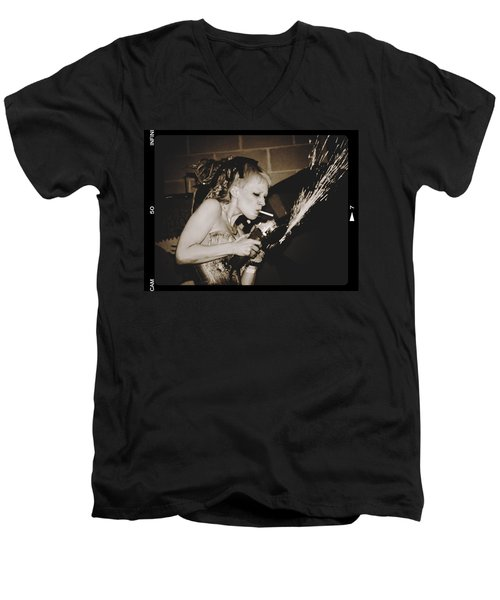 Men's V-Neck T-Shirt featuring the photograph Got A Light by Alice Gipson