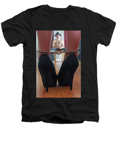 Men's V-Neck T-Shirt featuring the pyrography Got Cuffs by Shoal Hollingsworth