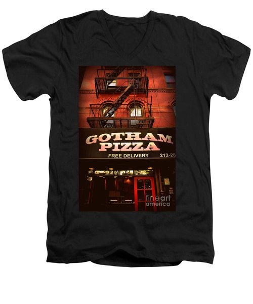 Gotham Pizza Men's V-Neck T-Shirt by Miriam Danar