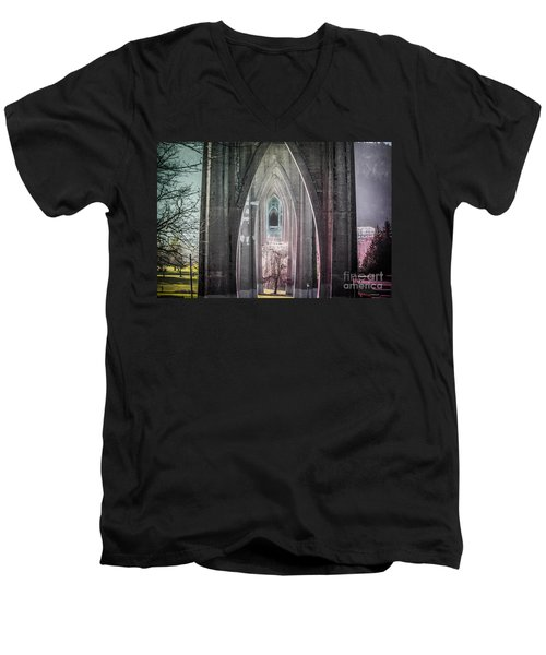 Gothic Arches Hands Folded In Prayer Men's V-Neck T-Shirt