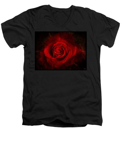 Gothic Red Rose Men's V-Neck T-Shirt by Absinthe Art By Michelle LeAnn Scott