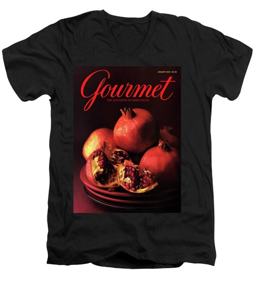 Gourmet Cover Featuring A Plate Of Pomegranates Men's V-Neck T-Shirt