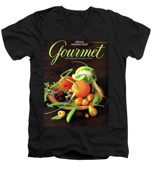 Gourmet Cover Featuring A Variety Of Fruit Men's V-Neck T-Shirt by Romulo Yanes