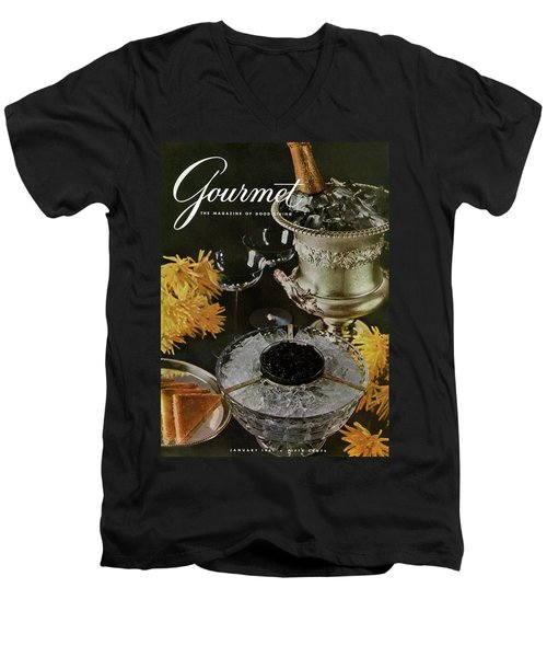 Gourmet Cover Featuring A Wine Cooler Men's V-Neck T-Shirt