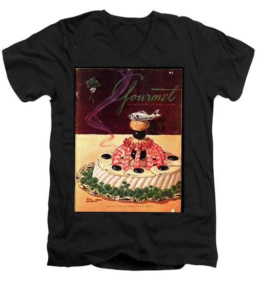 Gourmet Cover Illustration Of A Filet Of Sole Men's V-Neck T-Shirt