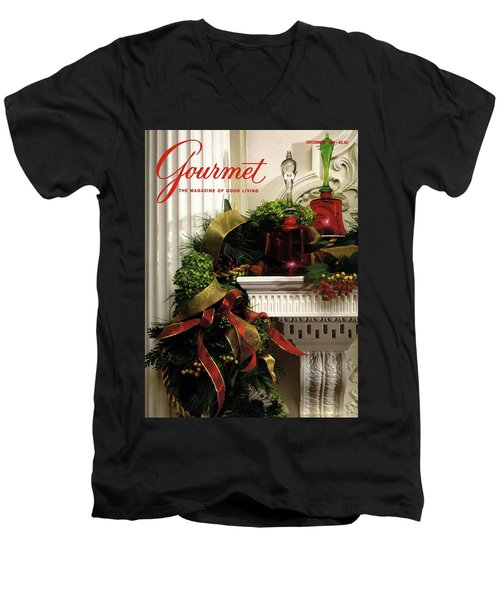 Gourmet Magazine Cover Featuring Christmas Garland Men's V-Neck T-Shirt