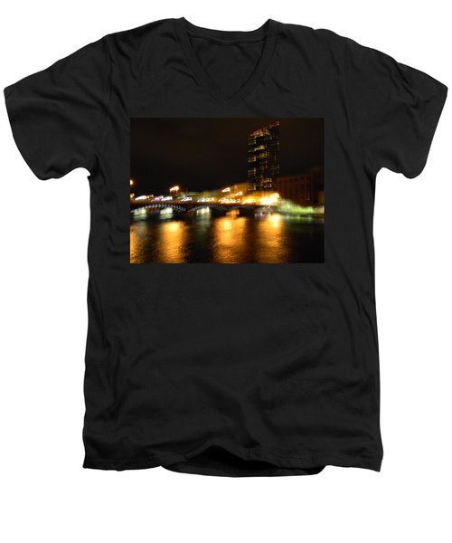 G.r. Grand River Glow Men's V-Neck T-Shirt by Mark Minier