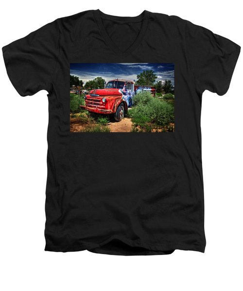 Men's V-Neck T-Shirt featuring the photograph Grafitti Fire Truck by Ken Smith