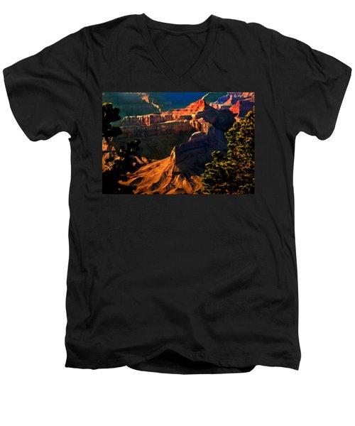 Grand Canyon At Sunset Men's V-Neck T-Shirt by Bob and Nadine Johnston