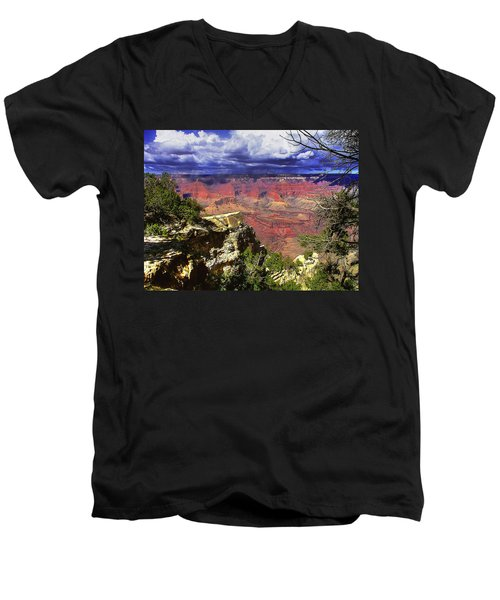 Grand Canyon Men's V-Neck T-Shirt by Craig T Burgwardt