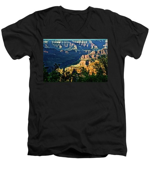 Men's V-Neck T-Shirt featuring the photograph Grand Canyon  Golden Hour On Angel Point by Bob and Nadine Johnston