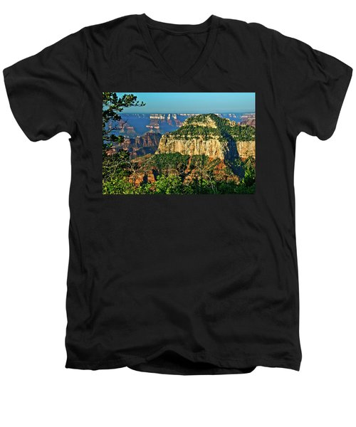 Men's V-Neck T-Shirt featuring the photograph Grand Canyon Peak Angel Point by Bob and Nadine Johnston