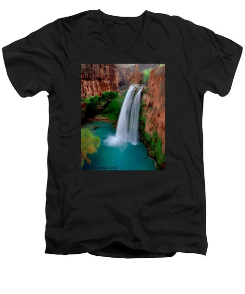Men's V-Neck T-Shirt featuring the painting Grand Canyon Waterfalls by Bruce Nutting