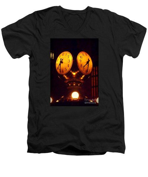 Grand Old Clock - Grand Central Station New York Men's V-Neck T-Shirt by Miriam Danar