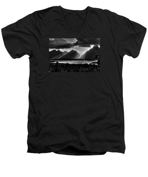 Grand Teton Light Beams Men's V-Neck T-Shirt by Aidan Moran