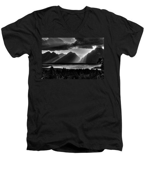 Grand Teton Light Beams Men's V-Neck T-Shirt
