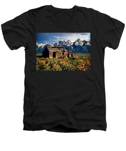 Men's V-Neck T-Shirt featuring the photograph Grand Tetons Cabin by John Haldane