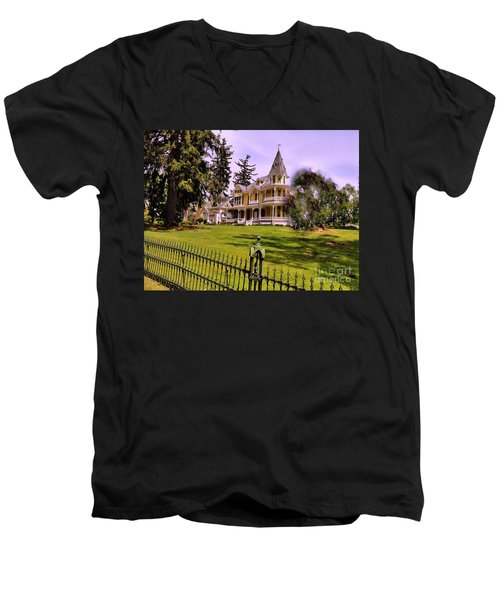 Men's V-Neck T-Shirt featuring the photograph Grand Yellow Victorian And Gate by Becky Lupe