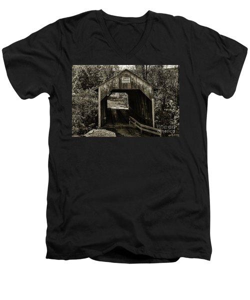 Grange City Covered Bridge - Sepia Men's V-Neck T-Shirt