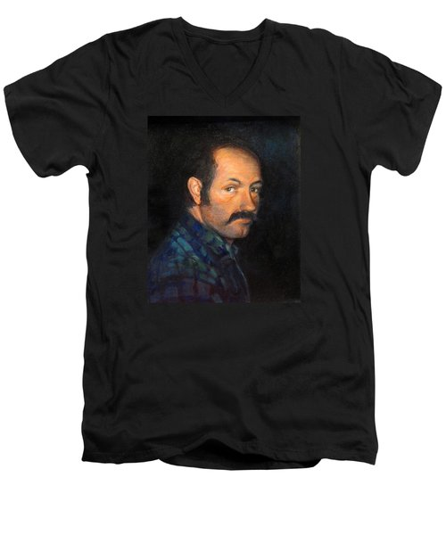 Men's V-Neck T-Shirt featuring the painting Grant by Donna Tucker