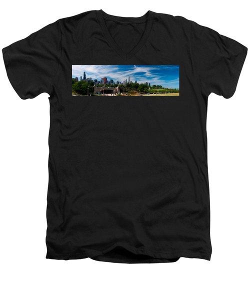 Grant Park Chicago Skyline Panoramic Men's V-Neck T-Shirt by Adam Romanowicz