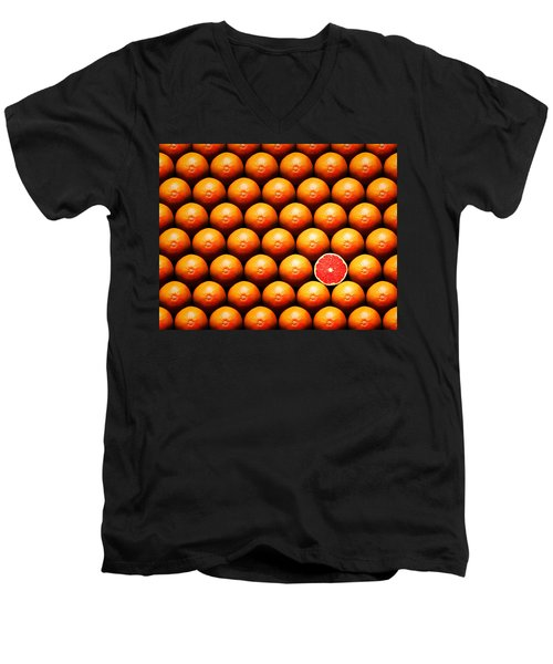 Grapefruit Slice Between Group Men's V-Neck T-Shirt by Johan Swanepoel