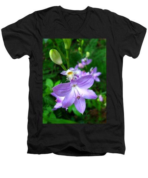 Grass Pink Orchid Men's V-Neck T-Shirt