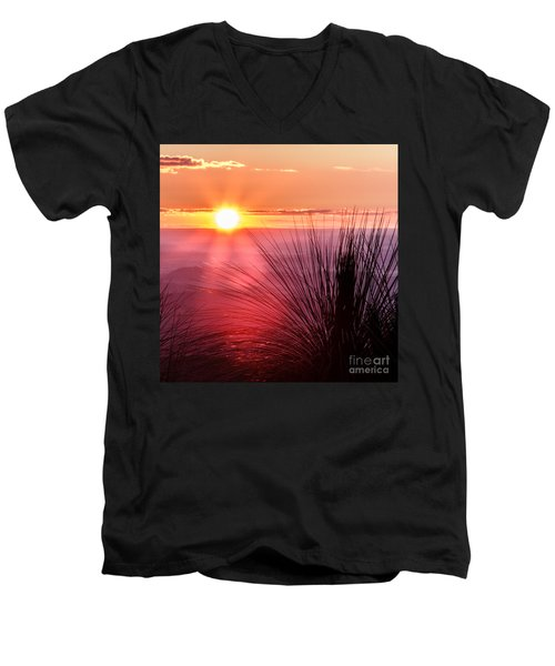 Men's V-Neck T-Shirt featuring the photograph Grasstree Sunset by Peta Thames