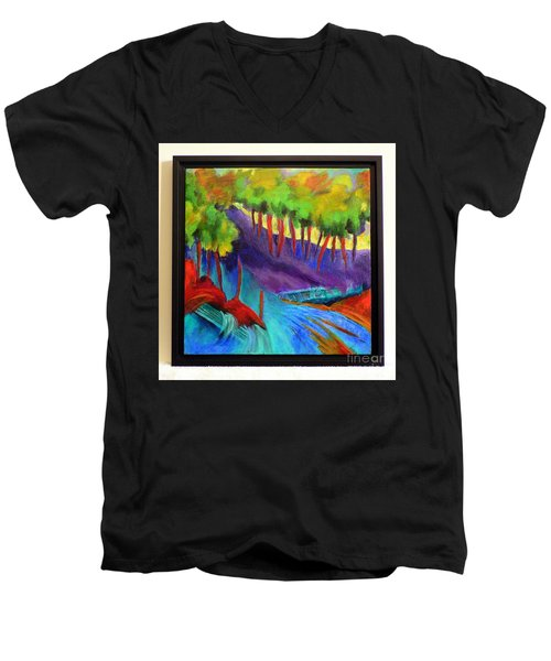 Grate Mountain Men's V-Neck T-Shirt by Elizabeth Fontaine-Barr