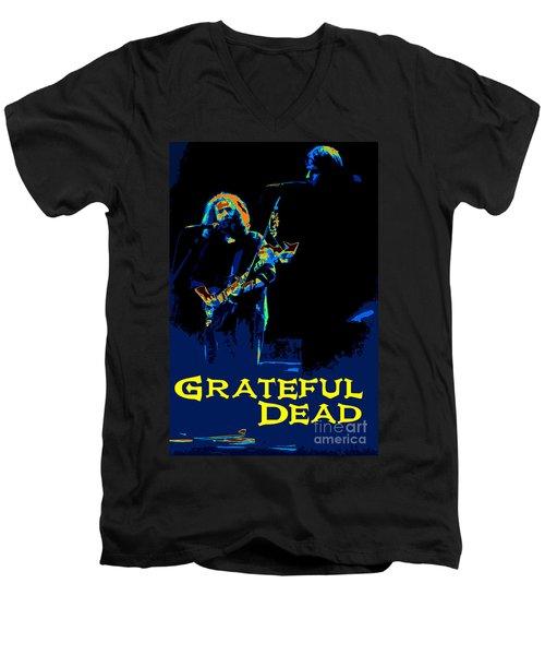 Grateful Dead - In Concert Men's V-Neck T-Shirt by Susan Carella