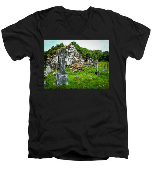 Graveyard And Church Ruins On Ireland's Mizen Peninsula Men's V-Neck T-Shirt