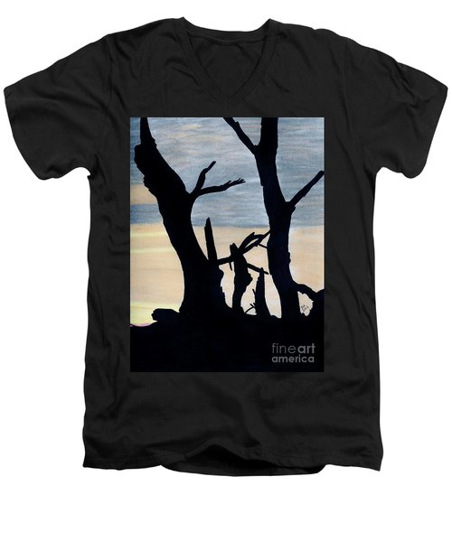 Men's V-Neck T-Shirt featuring the drawing Gray Sunset by D Hackett