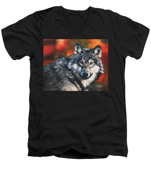 Men's V-Neck T-Shirt featuring the painting Gray Wolf by Joshua Martin