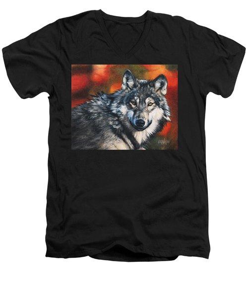 Gray Wolf Men's V-Neck T-Shirt