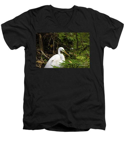 Great Blue Heron - White Men's V-Neck T-Shirt