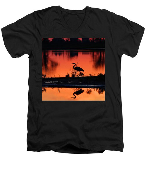 Great Blue Heron At Sunrise Men's V-Neck T-Shirt